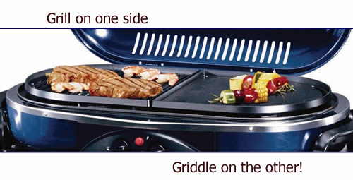 View of the griddle on one side and grill plate on the other