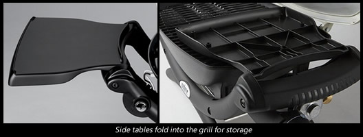 The side tables fold into the grill for easy storage